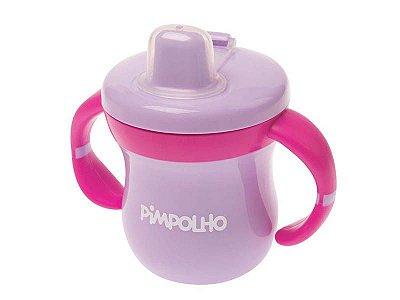 Copo Feminino com Alça e Tampa Rosa Lilás e Pink - Pimpolho - 7561