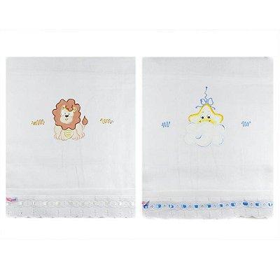 Toalha Fralda com Tecido Duplo Pintada (2pçs) - Estrela e Leãozinho 1405