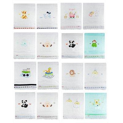 Kit com 18 Toalhas Fralda com Tecido Duplo Pintadas - Variadas 1405