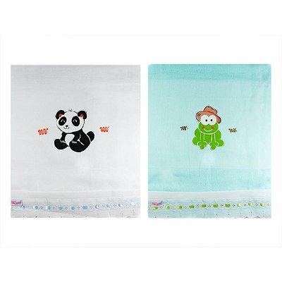 Toalha Fralda com Tecido Duplo Pintada (2pçs) - Panda e Sapinho 1405