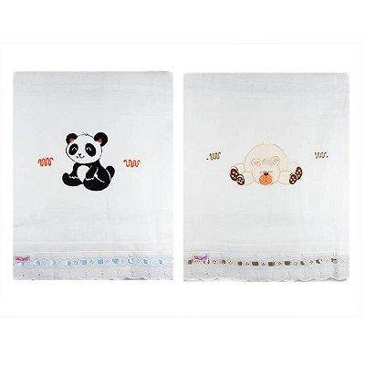 Toalha Fralda com Tecido Duplo Pintada (2pçs) - Panda e Ursinho 1405