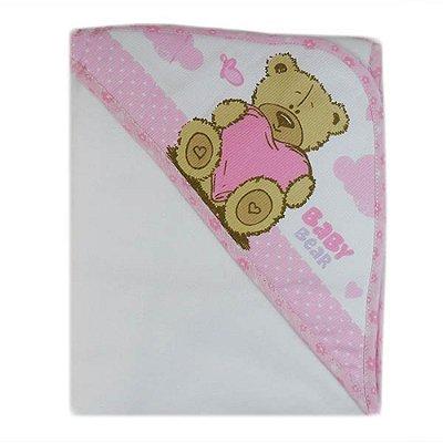Manta Flanelada Rosa Carícia Baby – Minasrey – 3327
