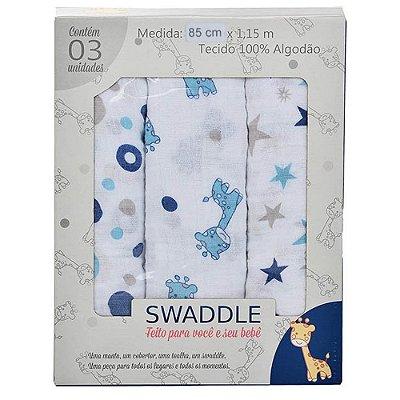 Manta Swaddle Masculino Azul Caixa 3 Unidades - Minasrey - 1560