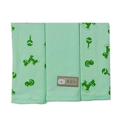 Babetes Verde Estampada 25 cm x 30 cm com 3 un malha - Minasrey - 4024