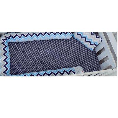 Kit 3 Peças Divertido Azul Protetor Berço Lençol Fronha Tipo Minhocão Loupiot Classic Minasrey 5463