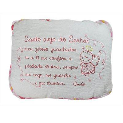 Travesseiro Bordado Linha Bebê Anjo Rosa - Minasrey - 3772