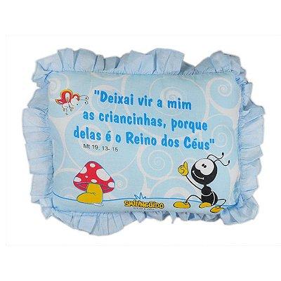 Travesseiro Smilinguido com Babado Azul 28 cm x 35 cm - Minasrey 3217