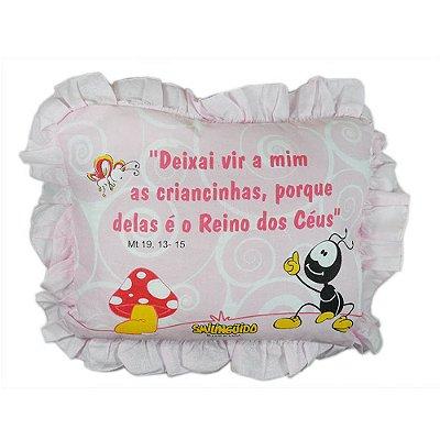 Travesseiro Smilinguido com Babado Rosa 28 cm x 35 cm - Minasrey - 3217