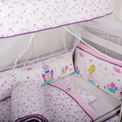Kit Berço 10 peças Reininho Princess Menina Rosa Padrão Americano com Cortinado - Minasrey - 3617