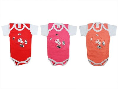 Kit com 9 bodies Manga Curta (M, G) Vermelho, Rosa e Laranja - Petutinha