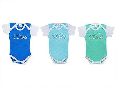 Kit com 6 bodies Manga Curta (G) Azul e Verde - Petutinha
