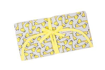 Trocador Portátil em Algodão e Nylon Soft de Girafas Amarelas com Cinza