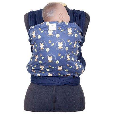 Wrap Sling em Malha de Algodão Azul Marinho com Frente de Raposinhas