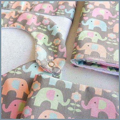 Kit Elefantinhos Coloridos com 5 peças (babador, paninho, manta, fralda de ombro e toalha fralda)