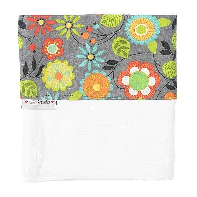 Fralda de Ombro Cinza com Flores Coloridas