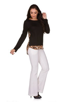 Blusa Manga Longa Costas Animal Print