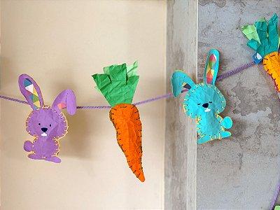 Cordão de bandeirola de cenoura e coelho