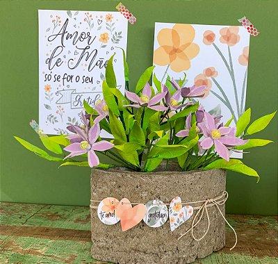 Vaso Pétala com Flores + Papelaria