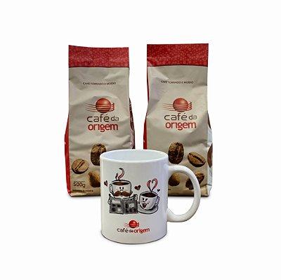 Kit Café da Origem Tradicional 2 pct de 500g +1 caneca modelo xícaras