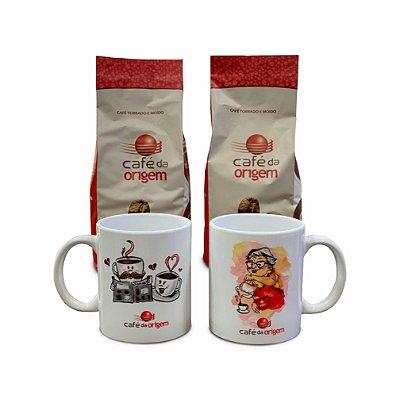 Kit Café da Origem Tradicional 2 pct de 500g +1 caneca modelo xícaras + 1 caneca modelo vovó