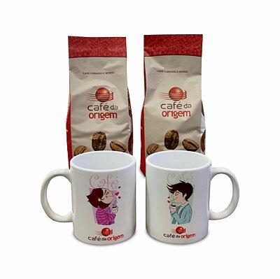 Kit Café da Origem Tradicional 2 pct de 500g +1 caneca modelo garoto + 1 caneca modelo garota