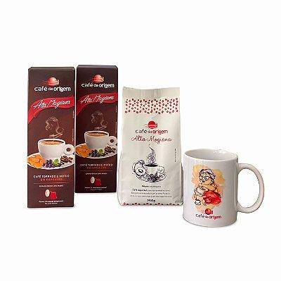 Kit Café da Origem Especial Alta Mogiana 250g + 1 caneca vovó  + 2 CXs cápsulas Alta Mogiana