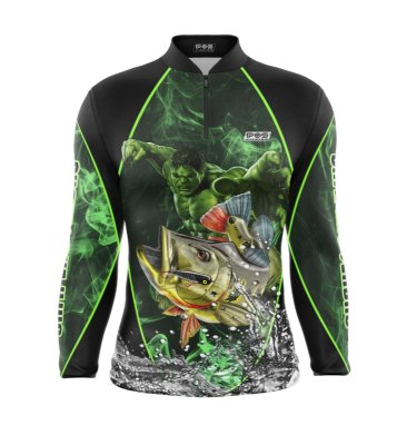 Camisa de Pesca Proteção Solar FPU 50+ Marca Pqs Fishing - Futebol - Gigante Verde - Modelo 01 - Tucunaré