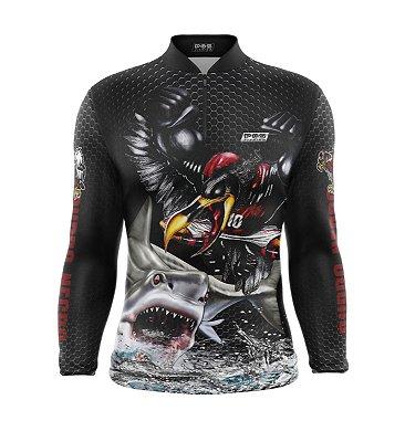 Camisa de Pesca Proteção Solar FPU 50+ Marca Pqs Fishing - Futebol - Mengo - Modelo 01 - Tubarão