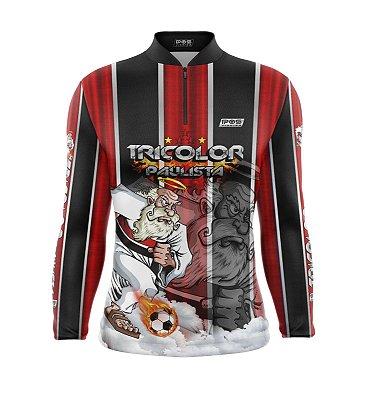 Camisa de Pesca Proteção Solar FPU 50+ Marca Pqs Fishing - Futebol - Tricolor - Modelo 01 - Soberano