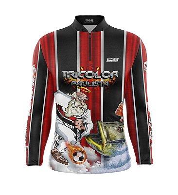 Camisa de Pesca Proteção Solar FPU 50+ Marca Pqs Fishing - Futebol - Tricolor - Modelo 01 - Tucunaré