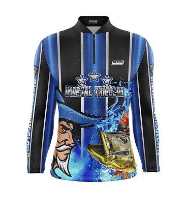 Camisa de Pesca Proteção Solar FPU 50+ Marca Pqs Fishing - Futebol - Imortal Tricolor - Modelo 01- Tucunaré