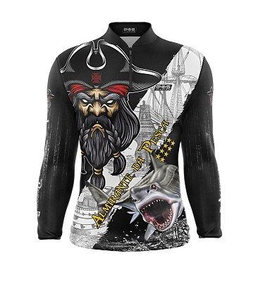 Camisa de Pesca Proteção Solar FPU 50+ Marca Pqs Fishing - Futebol - Almirante da Pesca - Modelo 01 - Tubarão