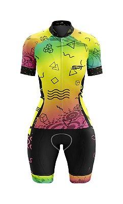 Macaquinho de Ciclismo Manga Curta  Feminino - Forro em gel - Proteção Solar FPU 50+ Marca SPT - 08