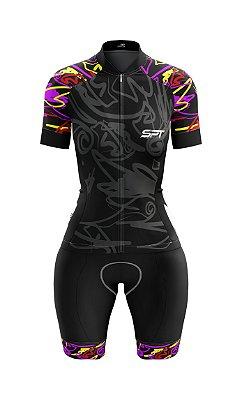 Macaquinho de Ciclismo Manga Curta  Feminino - Forro em gel - Proteção Solar FPU 50+ Marca SPT - 09