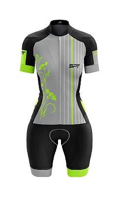 Macaquinho de Ciclismo Manga Curta  Feminino - Forro em gel - Proteção Solar FPU 50+ Marca SPT - 10
