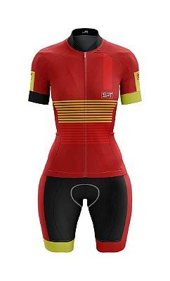 Macaquinho de Ciclismo Manga Curta  Feminino - Forro em gel - Proteção Solar FPU 50+ Marca SPT - 12