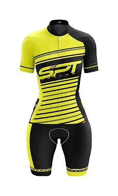 Macaquinho de Ciclismo Manga Curta  Feminino - Forro em gel - Proteção Solar FPU 50+ Marca SPT - 14