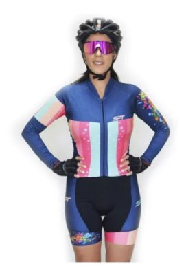 Macaquinho De Ciclismo Feminino Spt Ref 02 M/ L Forro Em Gel