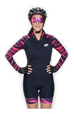 Macaquinho De Ciclismo Feminino Spt Ref 05 M/ L Forro Em Gel