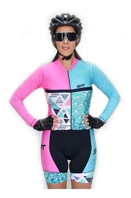 Macaquinho De Ciclismo Feminino Spt Ref 06 M/ L Forro Em Gel