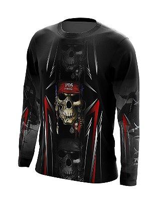 Camisa de Pesca Gola Redonda Ref. 06 Estampa Pirata Skull