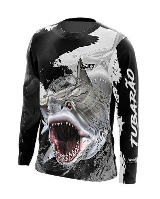 Camisa de Pesca Gola Redonda Ref. 13 Estampa Tubarão
