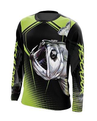 Camisa de Pesca Gola Redonda Ref. 20 Estampa Cachorra