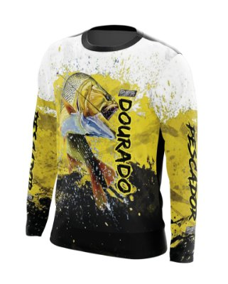 Camisa de Pesca Gola Redonda Ref. 21 Estampa Dourado