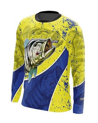 Camisa de Pesca Gola Redonda Ref. 22 Estampa Tucunaré