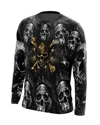 Camisa de Pesca Gola Redonda Ref. 23 Estampa Pirata Gold Black