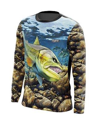 Camisa de Pesca Gola Redonda Ref. 25 Estampa Dourado Rock