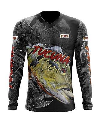 Camisa de Pesca Gola V Ref. 02 Estampa Tucunaré