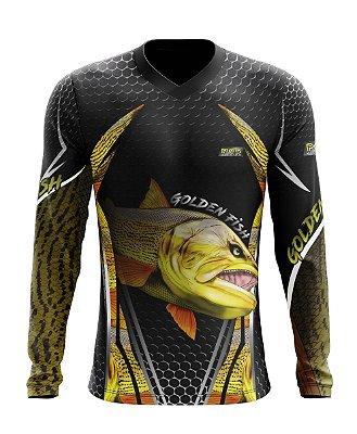 Camisa de Pesca Gola V Ref. 03 Estampa Dourado
