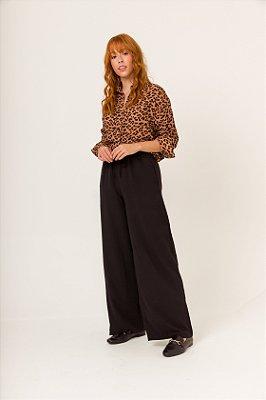 KIT Camisa Boy Onça + Calça Pantalona Preta Nina